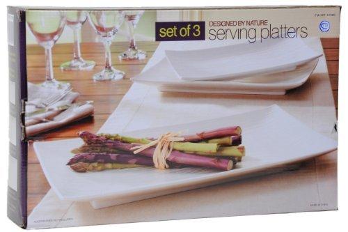 Design by Nature Porcelain Serving Platters - Set of 3