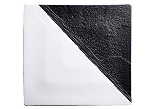 Winco WDP023-205 13 Porcelain Serving Platter Black&White Ceramic Tray 2CS