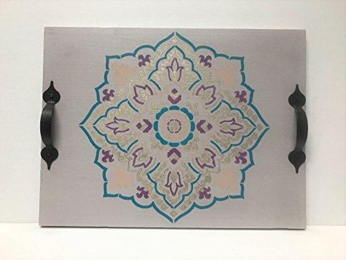 Handmade Mandala Rustic Wooden Tray - Decorative Wood Tray With Handles - Decorative Serving Tray - Wood Serving Tray With Handles
