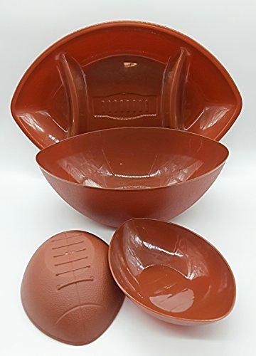 4 Piece Football Serving Set - 1 Serving Divided Platter 1 Bowl 2 Snack-sized Bowls
