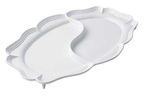 Bon Chef 2032D Aluminum Queen Anne Divided Platter 48 Length x 26-34 Width Sandstone White