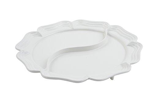 Bon Chef 2062D Aluminum Queen Anne Divided Platter 20 Diameter Sandstone White