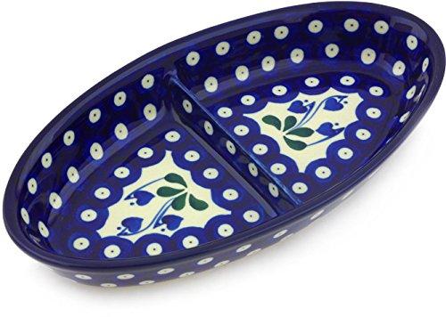 Polish Pottery Divided Platter 9-inch made by Ceramika Artystyczna Bleeding Heart Peacock Theme