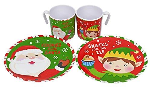 Cookies For Santa Plate and Mug Melamine Wares Reindeer Elf Design