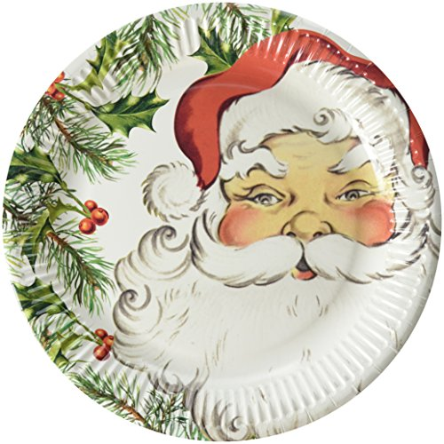 Talking Tables Botanical Santa 9 Plate for Christmas Parties and Dinners  8 Pack