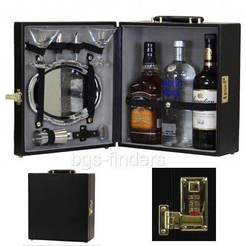 Generic Bar Portable Set Case ortable Set C for Three-Bottle ottle Tra Wear Tools Kit Black e Tray Liquor We Travel Bar Portable Tray Liq Tray Liquor