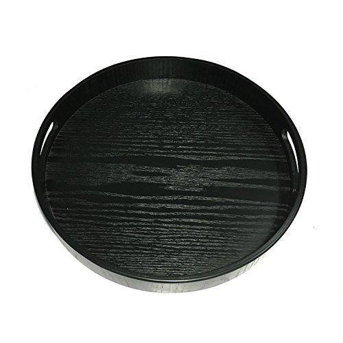 JPCRAFT Round Wooden Serving Tray 12-Inch Black