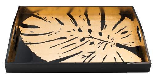 Caspari Entertaining Lacquer Rectangular Tray 21x15 inch Palm Leaves Black - Gold