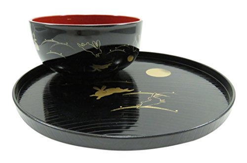 Rabbit and Full Moon Lacquer Bowl and Plate Tray Black and Red 2 Piece Set