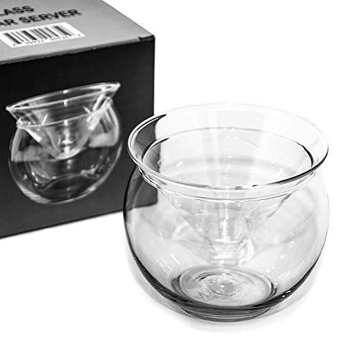 Glass Caviar Chiller Server Set - 2 pcs x Up To 3 Serving - Universal Martini Wine Liquor Cocktail Chiller