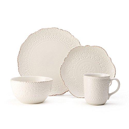 Pfaltzgraff 5199567 Chateau Cream 16-Piece Stoneware Dinnerware Set Service for 4 Off White