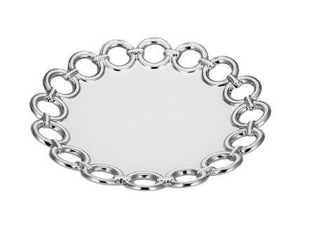 China Serving Platter 11 Round with Metallic Silver Circle Edge Design