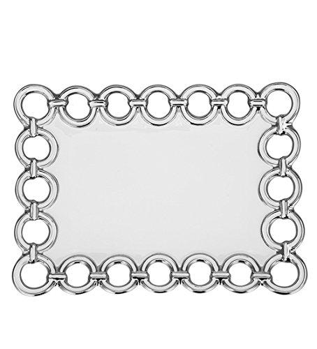 China Serving Platter Rectangular with Metallic Silver Circle Edge Design 14 x 10