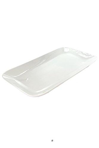 Modern Large 141 Rectangular Glossy Off-White Bone China Serving Platter
