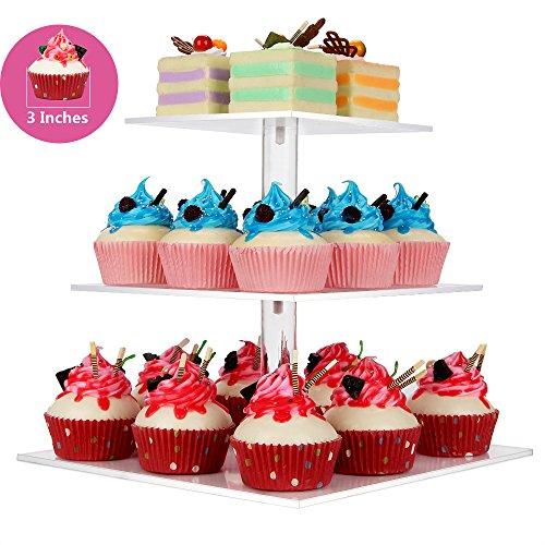 NeoBee 3-Tier Square Party Cupcake Standscake standcupcake display Cupcake rack Food display stands