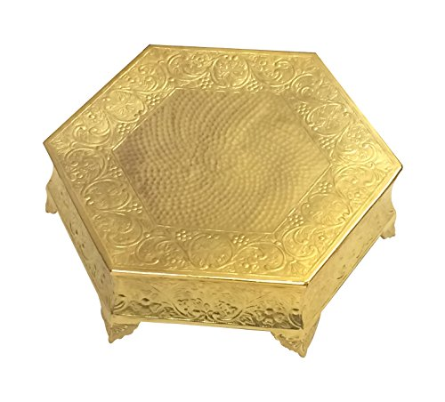 GiftBay Wedding Cake Stand Hexagonal Shape 16x16 Gold