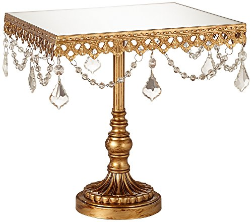 Elisa Antique Gold Beaded Mirror-Top 8 Square Cake Stand
