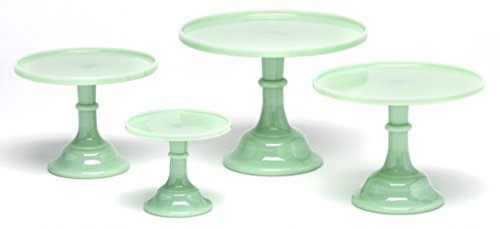Plain Simple Bakery Cake Plate Stand Set of Four - Mosser Glass Jadeite