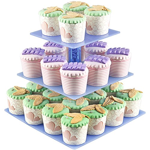 Cupcake Displays 3 Tier Acrylic Cupcake Display Stands For Wedding Birthday PartiesHolder 28 pcs Cup Cakes  Square Racks  Mini Tower Tree Reusable