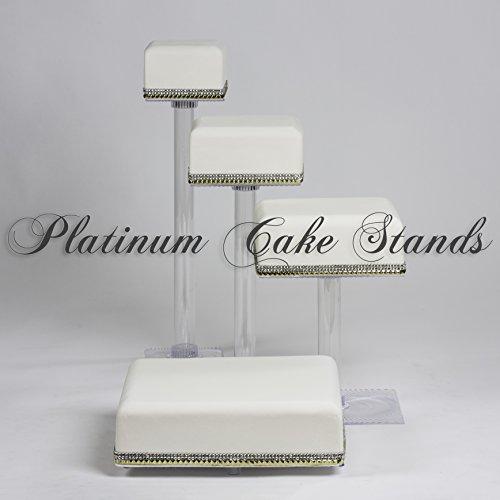 4 TIER CASCADE WEDDING CAKE AND CUPCAKE STAND SQUARE SQ415