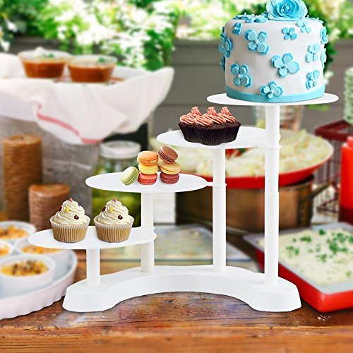 4 Layer Wedding Party Cake Rack Stair-Stepping Multilayer Plastic Display Cake Stand for Home and Commercial Use