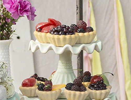 Cupcake and Dessert Stand 55 in Dia Ruffled Ceramic Mint Green