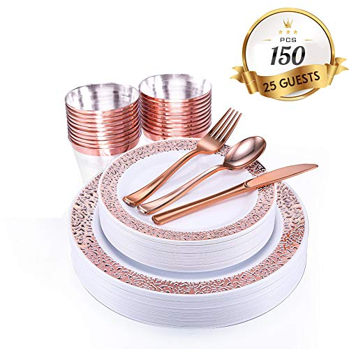 150 Piece Rose Gold Dinnerware Set with Plastic Silverware Elegant Lace Disposable Plastic Plate Setting Includes 25 Dinner Plates 25 Dessert Plates 25 Forks 25 Knives 25 Spoons 25 Cups