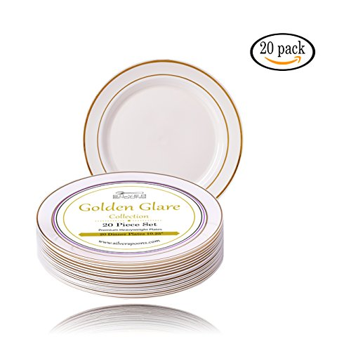 Golden Glare Collection Elegant China Disposable Round Ivory with Gold Border Plate Dinnerware Set For Wedding Parties and Events - Heavyweight Plastic Dinner Plates Set of 20