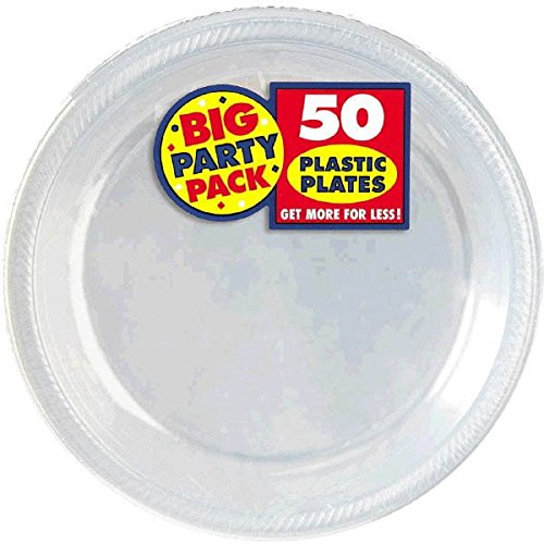 Amscan Big Party Pack 50 Count Plastic Dessert Plates 7-Inch Clear