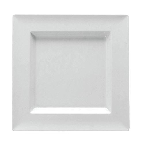 Dalebrook Low-Profile Square White Melamine Platter - 9 34L x 9 34W x 1H