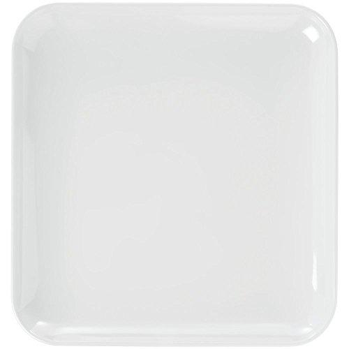 Elite Modernist Collection Square White Melamine Platter - 13 14L x 13 14W x 1 12D