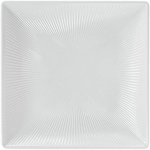 Elite Sunburst II Collection Square White Melamine Platter - 11L x 11W x 1 34D