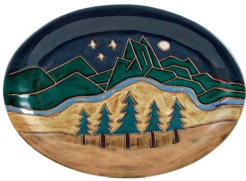 Mara Ceramic Stoneware 13 Inch Mountain Scene Small Oval Platter