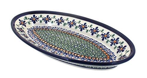 Polish Pottery Mosaic Flower Small Oval Platter