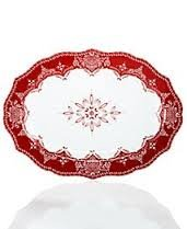 222 Fifth Christmas Holiday Winter Lace Red White Oval Platter 14