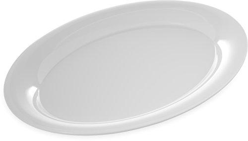 Carlisle 4441002 Designer Displayware Melamine Wide Rim Oval Platter 17 x 13 White Pack of 4