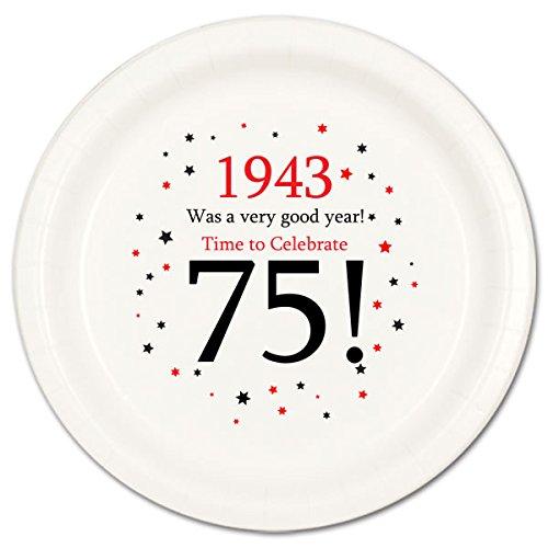 1943 - 75TH BIRTHDAY DESSERT PLATE 8PKG by Partypro