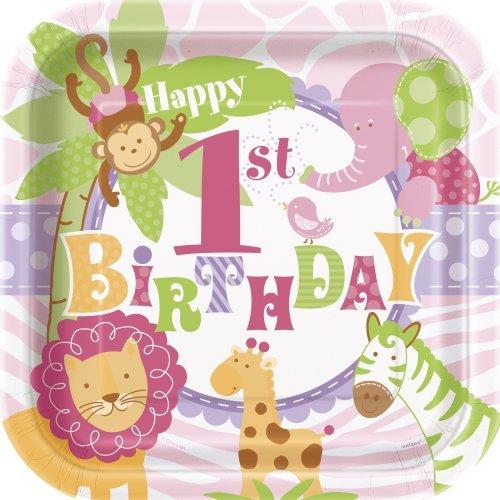 Square Pink Safari First Birthday Dinner Plates 8ct