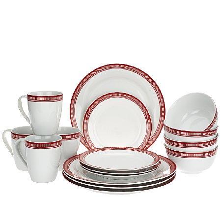 Emeril Bistro Red 16-Piece Porcelain Dinnerware Set by Gorham