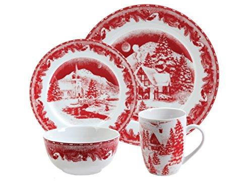 Gibson Elite Winter Cottage 16-Piece Porcelain Dinnerware Set Red
