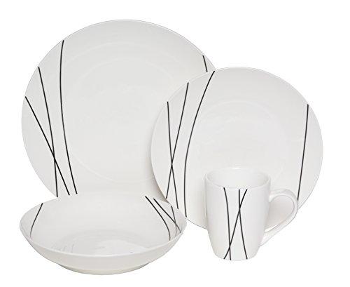 Melange Coupe 16-Piece Porcelain Dinnerware Set Lines  Service for 4  Microwave Dishwasher Oven Safe  Dinner Plate Salad Plate Soup Bowl Mug 4 Each