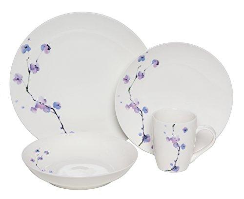 Melange Coupe 16-Piece Porcelain Dinnerware Set Purple Zen  Service for 4  Microwave Dishwasher Oven Safe  Dinner Plate Salad Plate Soup Bowl Mug 4 Each