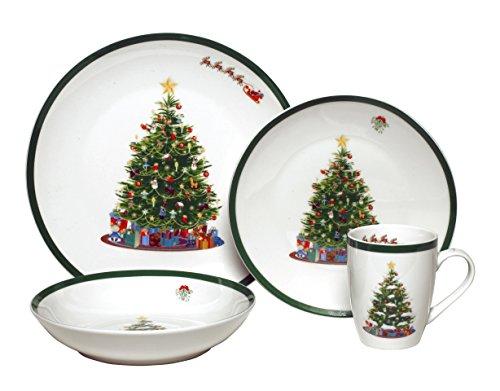 Melange Coupe 16-Piece Porcelain Dinnerware Set Vintage Christmas Tree  Service for 4  Microwave Dishwasher Oven Safe  Dinner Plate Salad Plate Soup Bowl Mug 4 Each