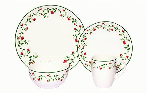 Melange Coupe 16-Piece Porcelain Dinnerware Set Winterberry  Service for 4  Microwave Dishwasher Oven Safe  Dinner Plate Salad Plate Soup Bowl Mug 4 Each
