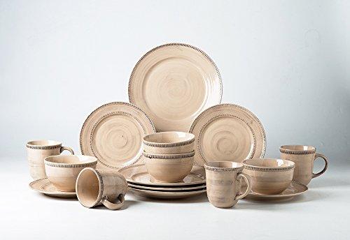 Pangu 16-Piece Porcelain Dinnerware Sets RIVER NILE Handmade Ornament Motif Service for 4 Coffee au lait