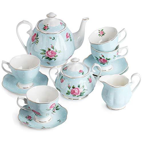 BTäT- Floral Tea Set Tea cups 8oz Tea Pot 38oz Creamer and Sugar Set Gift box China Tea Set Tea Sets for Women Tea Cups and Saucer Set Tea Set for Adults 4 Tea Cups Set Porcelain Tea Set