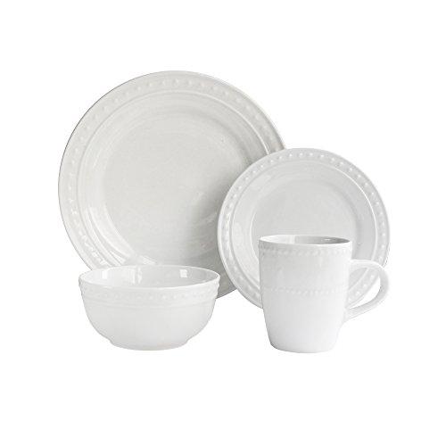Elle Decor 6830-16-RB elle décor Casual Round Dinnerware Set - 16-Piece Porcelain Party Collection w 4 Dinner Salad Plates 4 Bowls 4 Mugs - Unique Gift Idea White Monique