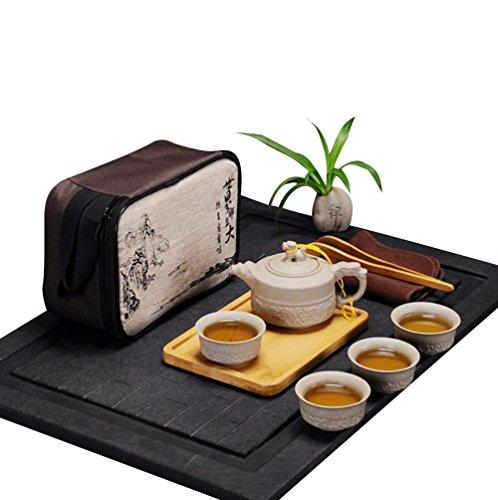 Hoobar Chinese  Japanese Kungfu Tea Set Portable Travel Tea Set Porcelain Teapot Teacups Bamboo Tea Tray Tea Mat with a Travel Bag Dragon Pattern 4 Cups