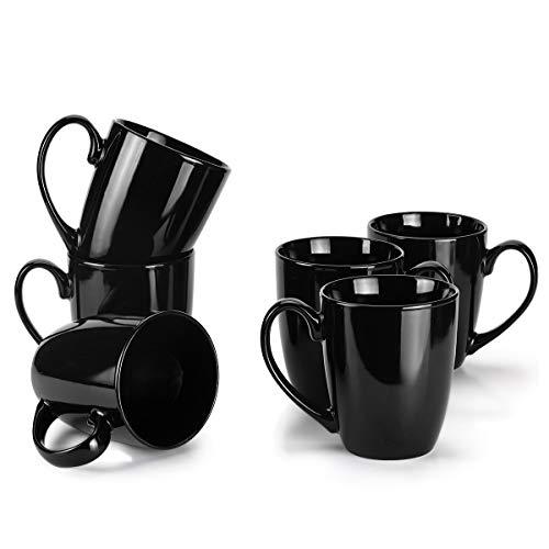 MIWARE 13 Ounce Porcelain Mugs Set of 6 Large Handle Tea and Coffee Mug Set Black Cool Mugs