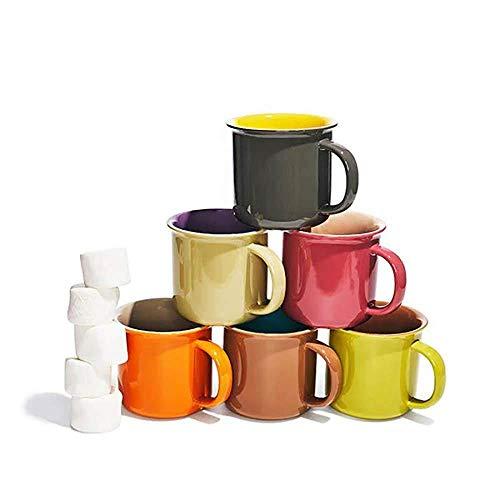 Yedi Houseware Set of 6 Jumbo 20 oz Porcelain Mugs Coffee Tea Cocoa Set of 6 Hot Assorted Colors